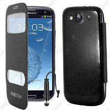 Housse Coque Etui S-View Flip Cover Noir Samsung Galaxy S3 i9300 +Mini Stylet