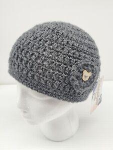 Handmade Small Crochet Knitted Winter Hat Gray Button Embellishment 100% Acrylic