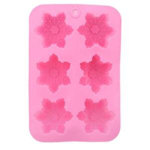 6-Snowflake Cake Mold Flexible Silicone Mold For Candy Chocolate Soap Shan