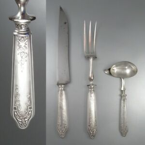 Antique French Sterling Silver Clad Carving Set with Gravy or Sauce Ladle, Paris