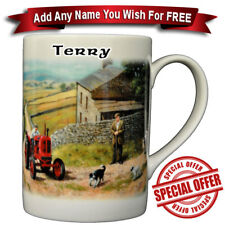 Nuffield Tractor in Farmyard / Bone China Mug / Personalised name added for free