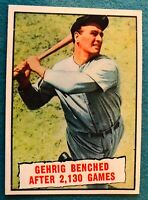 1961 Topps #405 Lou Gehrig NY Yankees Benched After 2,130 Games HOF