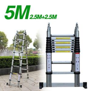 5M Échelle Pliable Aluminium Télescopique Pliante Escabeau Multifonction Outils