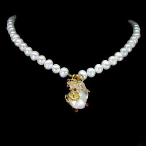 Baroque Creamy White Pearl 25x18mm Ruby 925 Sterling Silver Necklace 19 Ins