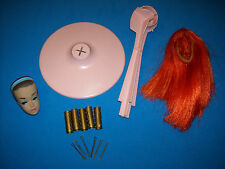 Vintage Barbie Color 'n Curl Color Magic Set Ruby Red Wig Curlers Stand Head '64