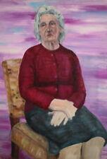 Vintage old seated woman portrait gouache painting