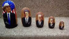 5 US PRESIDENTS FROM BUSH JR TO CARTER - WOODEN NESTING DOLLS RUSSIAN MADE