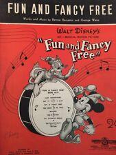"WALT DISNEY's (Film) - ""Fun and Fancy Free"" VINTAGE MOVIE SHEET MUSIC (M033)"
