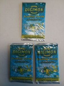 DIGIMON - Animated Series Edition SEALED Unopened Booster Pack x 3 CCG BanDai