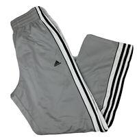 Adidas Mens Small Basketball Warmup Pants Track Workout Gray Black White Striped
