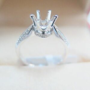 SOLID Platinum 900 0.148CT Diamond 6 Prongs Engagement Ring Setting CUSTOM-BUILD
