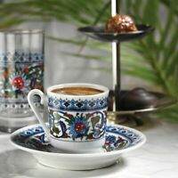 Turkish Coffee Cups Set of 6, Cuban Porcelain Fancy Espresso Cups with Saucers