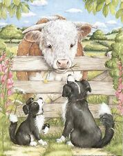 Set of 5 Prints of Farmyard Friends 'Collie & Bull' for Decoupage