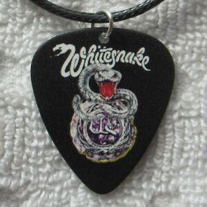 "WHITESNAKE 18"" Logo Necklace, 1980s Heavy Metal Guitar Pick & Black Cord Jewelry"