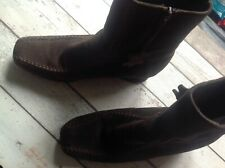 Ladies Brown Suede Ankle Boots Size 5