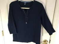 Woman's Chaps size XL blue tie front 3/4 sleeve round neck cotton top