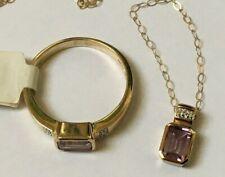 schönes Set - Kette und Ring - Amethyst und Diamanten - 333 - 5,8g