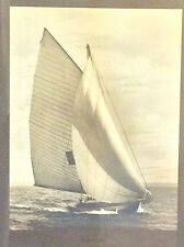 Large antique photograph of a racing Yacht by James Burton N.Y. America's cup