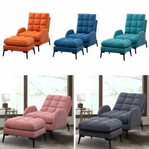 Recliner Armchair With Footstool Soft Velvet Upholstered Lounger Sofa Chair UK