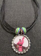 Ribbon Cord Bottle Cap Bling Charm Necklace Beads Inside Out Bing Bong Rainbow