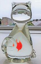 Murano Clear Glass Cat with Red Fish in Belly 14 cm high