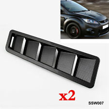 "2pc Hood Vent Louver Cooling Panel Trim Carbon fiber pattern 16.7x4.5"" Universal"