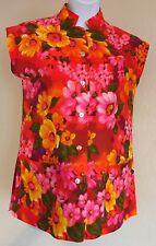 EUC Vintage Hawaiian Floral Waltah Clarke's Pink Neon Bright Tunic Shirt 14 L M
