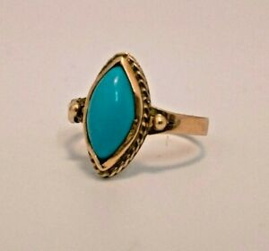 9ct Gold ring with turquoise stone, comes with 9ct sliding adjuster size P 2.1g
