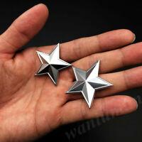 2pcs Matte Silver Metal Pentacle Pentagram CPC Car Trunk Emblem Badge Decal