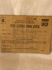 MILITARY WW II RATION BOOK # 4 EX WITH 2 PAGES OF STAMPS FROM TECUMSEH OK.