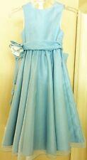 New Jessic Lynn Emerald Bridal Jamie Girls Sz 3 Blue Organza Formal Gown Dress