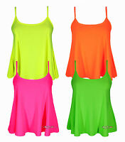 Ladies Crop Strappy Swing Cami Illuminous Neon Vest Casual Party Top 8-14