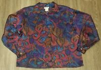 Women's Vintage Retro Sir James Size 12 Polyester Button Down Blouse Shirt Top