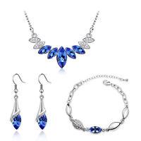 Royal Blue & Silver Crystal Jewellery Set Drop Earrings Bracelet & Necklace S671