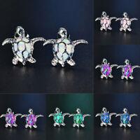 Women 925 Silver Cute Turtle Fire Opal Stone Ear Studs Earrings Jewelry Gift