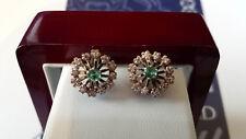 New Unique Designer hand made White gold Emerald & diamonds snowflake earrings