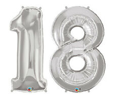 """18th BIRTHDAY BALLOONS 34"""" METALLIC SILVER 18th PARTY SUPPLIES NUMBER 18 BALLOON"""