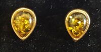 9 carat gold & yellow amber vintage Art Deco antique pair of earrings