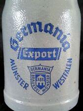 """Antique German stoneware salt glazed beer stein bierkrug """"Germania"""" 1/2 L."""
