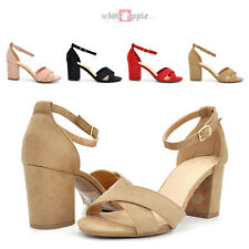 d7b2335a06d Women Open Toe Criss Cross Ankle Strap Block Heel Dress Pump Sandal Shoe  Loria