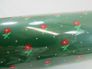 Vintage Hallmark Holiday Favorites Gift Wrap Roll Red Green Flowers 32332