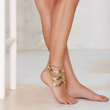 Women 2pcs Gold Boho Barefoot Sandals Yoga Ankle Toe Ring Bracelet Wedding Beach
