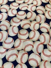 NEW BASEBALLS on Blue 100% COTTON Fabric by the Half Yard