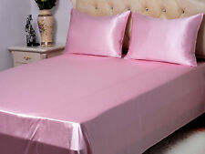New Soft Satin Silk Comfort Queen Sheet Set Fitted +Pillowcase+Flat  Pink