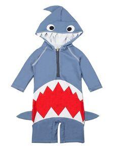 Baby Boys Girls Shark Swim Jumpsuit Rash Guard Swimsuit Costume Swimwear