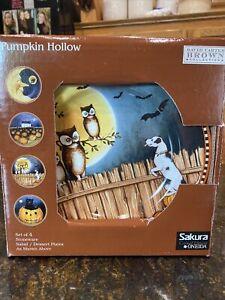 "Oneida Sakura Pumpkin Hollow David Carter Brown 8"" Plate Set of 4 Halloween Box"