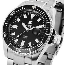 Herren Armbanduhr Schwarz/Silber Edelstahl Drehlünette Datum CA2217 von CARUCCI