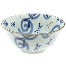 "1x Japanese 6""Tayo Blue Dragonfly Swirls Medium Bowl #140-117"