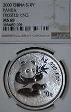 Rare Date NGC MS69 2000 10 Yuan 1 oz .999 Silver Chinese Panda Coin Frosted Ring