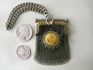 Antique Chatelaine Celluloid Portrait Mesh Coin French Bru Doll Purse 1890s